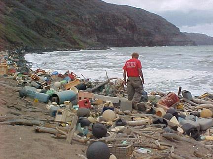 Śmieci wyrzucone przez wodę na brzeg na wybrzeżu Hawajów. Aut. NOAA. Źródło Wikimedia. DP