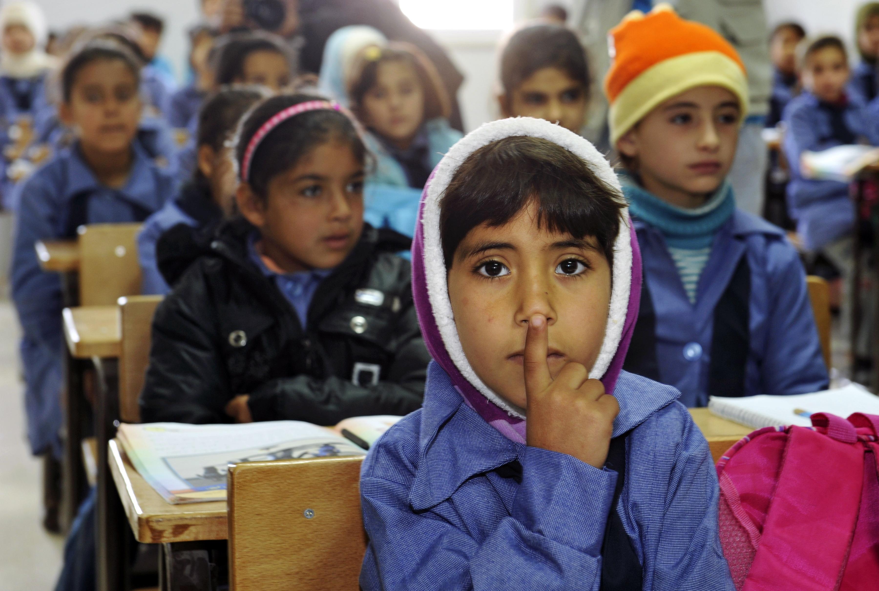 Szkoła w obozie dla syryjskich uchodźców w Jordanii.