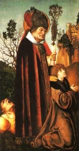 Św. Walenty z chłopcem chorym na padaczkę,  Lucas Cranach Starszy. Zdjęcie: Wikipedia
