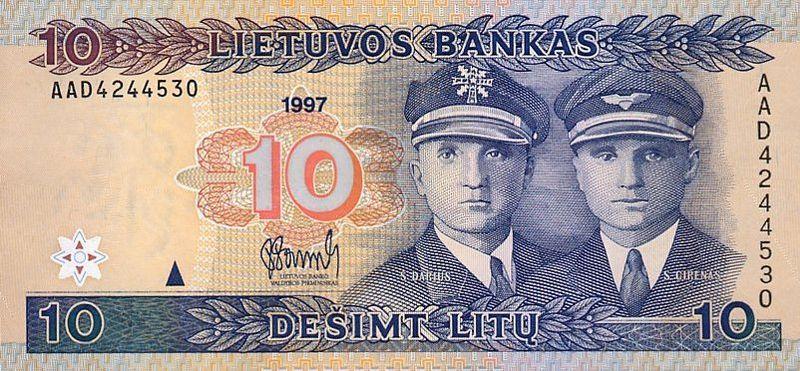Lotnicy Darius i Girenas, którzy zaryzykowali drugi najdłuższy przelot nad Atlantykiem bez międzylądowań, są przedstawieni na litewskim banknocie. Źródło Wikimedia. Domena publiczna
