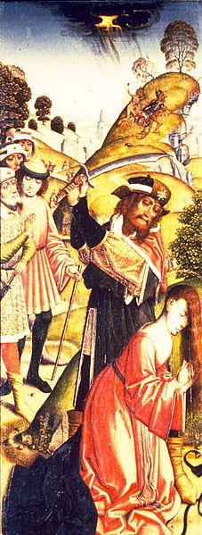 Męczennictwo świętej Barbary. 1470-1500. Autor obrazu Jacob van Lathem. Źródło Wikimedia. Domena publiczna
