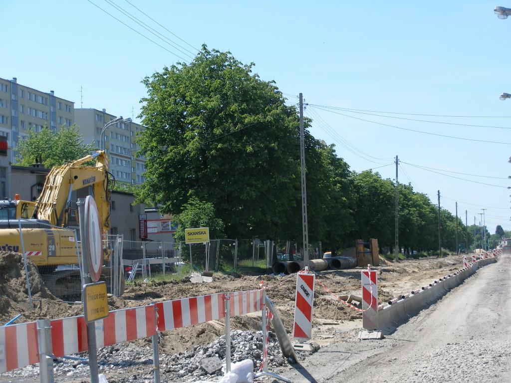Ulica Inflancka w Łodzi. Kilkadziesiąt dorodnych kasztanowców już wycięto w związku z poszerzaniem ulicy. Te widoczne na zdjęciu prawdopodobnie już podzieliły ich los.