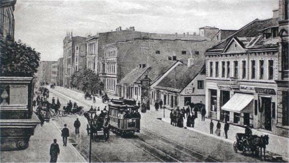 Tramwaj na ul. Piotrkowskiej w Łodzi, ok. 1900 roku, fot. CC0