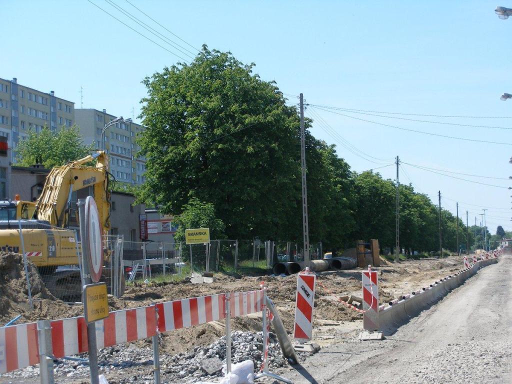 Szpaler drzew przeznaczonych do wycięcia pod poszerzenie ulicy Inflanckiej