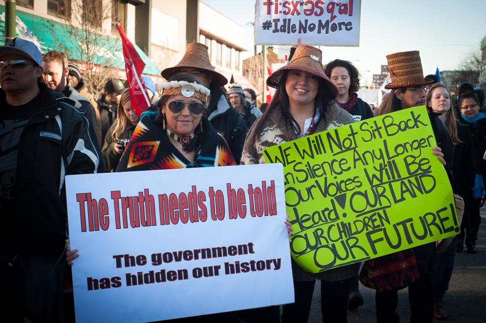 Marsz poparcia dla wodza Teresy Spence, Vancouver, 11 stycznia 2013 fot. Caelie_Frampton CC BY-NC-SA 2.0